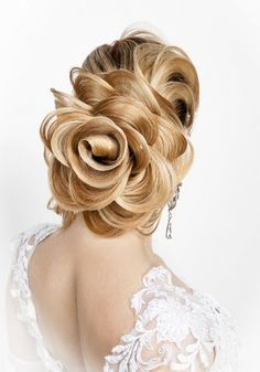 """Collection of educational discs George Cat """"Black Diamond"""" – Disc 1 Hair … … - Coiffure Sites Fancy Hairstyles, Creative Hairstyles, Wedding Hairstyles, Flower Hairstyles, Evening Hairstyles, Holiday Hairstyles, Chignon Rose, Rose Bun, Peinado Updo"""