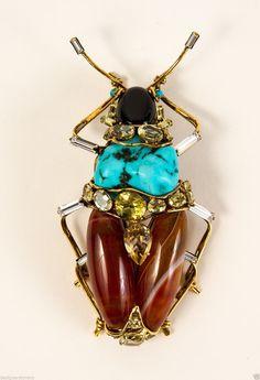 C Amp D Gilt Brass w Antique Bug Pin Brooch w Turquoise Agate Citrine Onyx GG | eBay