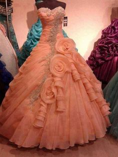 Gorgeous Sweetheart Ball Gown Floor Length Coral Quinceanera Dress With Frills Quince Dresses, Ball Dresses, Ball Gowns, Indian Wedding Gowns, Indian Gowns Dresses, Bridal Outfits, Bridal Dresses, Dress Wedding, Rose Gold Quinceanera Dresses