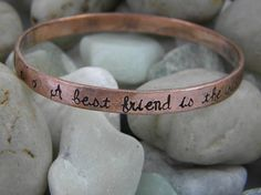 """Do you have a special friend that has always been there for you? Someone you feel so close to that you are really more like sisters? Imagine her delight when she reads these sweet words.  This beautiful copper bangle is hand stamped with """"A best friend is the sister that God forgot to give you.""""  She is sure to treasure it as much as you treasure her."""