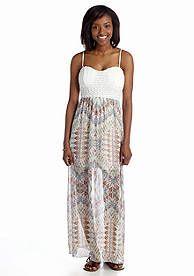 Trixxi Crochet Chevron Maxi Dress