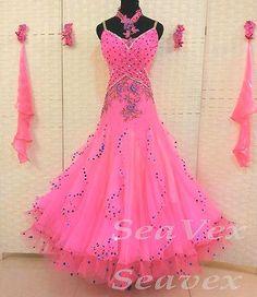 Organza Everday Ballroom Watlz Tango Dance Dress US 8 UK 10 Pink Bears Sequins