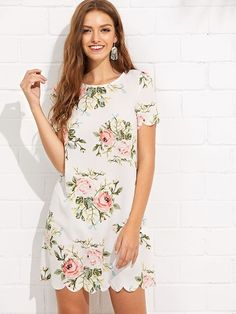 7ddc781cc7e5 SHEIN Scalloped Edge Floral Dress #fashion #trends #styles #shein #sheinside  #