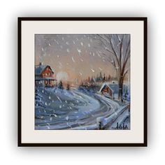 Mini 3x3 winter scene original acrylic painting by Imaginartdesign, $28.00