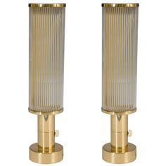 Art Deco Pair of Brass and Glass Table Lamps | From a unique collection of antique and modern table lamps at http://www.1stdibs.com/furniture/lighting/table-lamps/