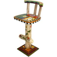 """Sticks creates this artistic one-of-a-kind swivel stool, constructed of hard wood. Hand drawn whimsical designs are burnt in, and then painted. * Chair Size: 18""""W. x 18""""D. x 30""""H. * Signed, Dated Anyt"""