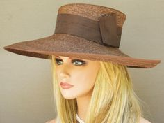 Brown Wide Brim Straw  Kentucky Derby Hat