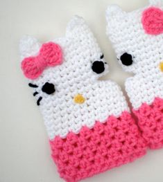 ~ Crochet Buffet ~  Hello Kitty Fingerless Gloves pattern available on SwellAmy's Etsy shop.