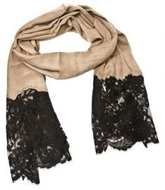 Nude + Black Lace scarf <3 - Click image to find more Women's Fashion Pinterest pins