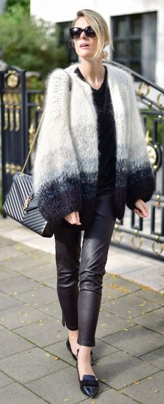 Black And White Ombre Effect Cardi Outfit Idea by Fashionata