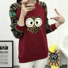 Loose Casual Hedging Long-Sleeved Round Neck Hoodies Female Women Sweatshirt Owl Printed Patchwork Plus Size Sudaderas Mujer