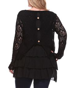 Black Crochet Ruffle Scoop Neck Top - Plus #zulily #zulilyfinds