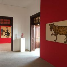 At Le Musée in #Ouidah #Benin @fondation_zinsou visiting the exhibition 'La Fabrique à fantasmes' • In this pic, works by #CyprienTokoudagba (Benin) and #GeorgeLilanga (#Tanzania)