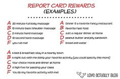 Report Card Rewards