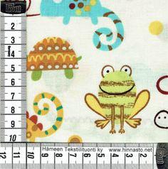 E281 tilkkutyökangas 50x110cm PALA -sammakot ja liskot, luonnonvalk. tausta