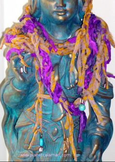 Boho Sari Boa Peaches & Wine Recycled crocheted sari ribbon, turquoise, mother of pearl. Extra long so you may wrap it around for that bohemian look! https://shop.planetcalamari.com