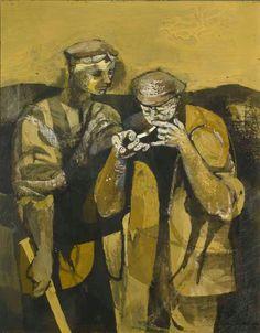 Keith Vaughan Labourers Lighting a Cigarette
