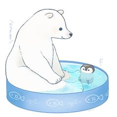 Cute Polar bear and Baby penguin in a kiddie pool.