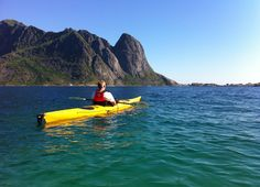 Kajakking in beautiful Reine, Lofoten.