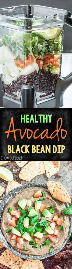 Healthy Avocado Black Bean Dip. Big, bold flavors. So easy. #avocado #dip