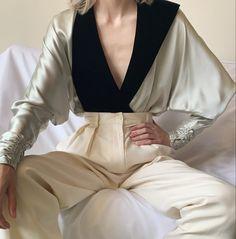 """@persephonevint's Instagram post: """"silk charmeuse velvet collar wrap"""" Silk Charmeuse, White Jeans, Velvet, Rompers, Formal, Instagram Posts, Pants, Clothes, Dresses"""