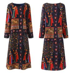 Hot saleGracila Ethnic Printed Layered Long Sleeve O-neck Vintage Women Dresses Cheap - NewChic Mobile