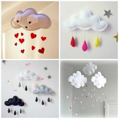 Craft This Cloud Mobile for Your Baby Nursery (has very basic instructions for making these mobiles) Cloud Mobile, Sewing Projects, Craft Projects, Projects To Try, Garden Projects, Garden Ideas, Felt Crafts, Diy And Crafts, Diy For Kids