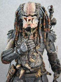 Close-up of incredible details on converted NECA 1/4 Elder from Classic Predator