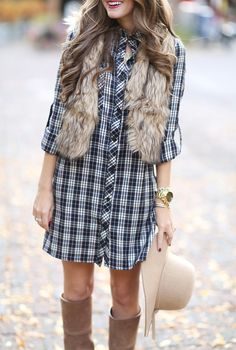 How to recreate your favorite fall outfits plaid dress, flannel dress, flan Flannel Dress, Plaid Dress, Shirt Dress, Flannel Shirt, Fur Vest Outfits, Cute Outfits, Fall Winter Outfits, Autumn Winter Fashion, Fall Fashion