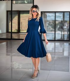 Glamour dress with style Elegant Outfit, Elegant Dresses, Pretty Dresses, Beautiful Dresses, Casual Dresses, Summer Dresses, Blue Dress Casual, Modest Wear, Modest Outfits