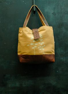 Ann Shoulder Bag in golden yellow with Century print by appetite, $88.00