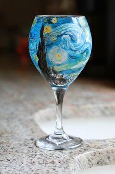 Painted wine glass for Caitie Corrigan's birthday :) https://www.etsy.com/listing/154496226/van-gogh-inspired-hand-painted-wine?ref=listing-shop-header-2