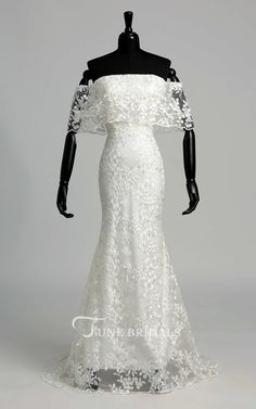 fbb288d8b54 Elegant Off-the-shoulder Mermaid Long Lace Wedding Dress