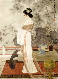 A painting of a scholarly lady by modern artist. Please note the desk in the painting. It's classic Ming-style furniture, simple, refined and elegant. Asian Artwork, Chinese Artwork, Chinese Painting, Painting Art, Geisha Art, Art Asiatique, Art Japonais, China Art, Traditional Paintings