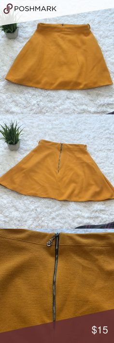 Mustard thick knit circle skirt Warm sweater like fabric full circle skirt with pocket.  Rear exposed zipper ps romstyle Skirts
