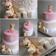 Christening cute cake Cute Cakes, Baby Shower Cakes, 3rd Birthday, Christening, Events, Baking, Food Cakes, Ideas, Florals