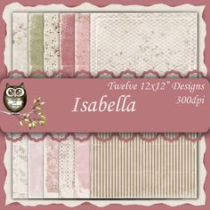 Isabella  12x12 Collection - Instant Download by MicheleRDesign on Etsy