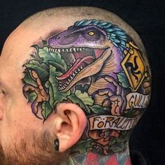 Photo by (cleverfangirl) on Instagram |  #ink, #tattooideas, #headtattoo, #awesome, #love, #jurassicpark, #trex, #dinosaurtattoo, #pain, #pretty, #amazing, #jp, #jurassicworld, #jw, #dino, #insane, #tt, #clevergirl