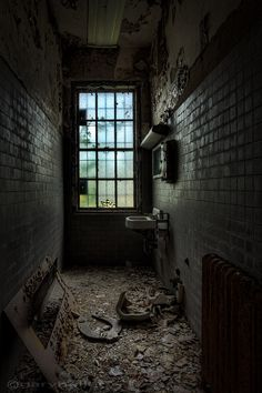 long narrow lavoratory, abandoned asylum, urban exploration, mysterious places, fine art photography print, signed. via Etsy