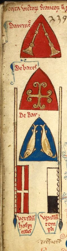 Three inverted shields with the arms of the French crusaders killed at Gaza: Dareines, John de Barres, and Henry II, count de Bar, with the inverted banners of the Hospitaliers and Templars (f°130v) -- «Historia Anglorum», by Matthew Paris, 1250-1259 [BL Royal MS 14 C VII, ff 8v-156v] -- Presentation at: http://www.bl.uk/manuscripts/FullDisplay.aspx?ref=Royal_MS_14_C_VII