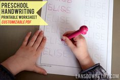 Lansdowne Life: FREE printable: Preschool handwriting worksheet