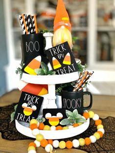 Candy corn signs / 3D signs / Halloween signs / Halloween decor / trick or treat / tiered tray signs / coffee bar decor / rae Dunn decor These cute 3d Halloween/ candy corn signs are a perfect addition to your farmhouse and Rae Dunn fall/ Halloween Decor They look great on Tiered trays, shelves, hutches and by themselves. These signs are 3D. Meaning the Wood cut outs are raised. Made in my home and hand painted by me. Spooky Halloween Decorations, Halloween Signs, Fall Halloween, Halloween Candy, Good Find, Coffee Signs, Candy Corn, Trick Or Treat, Decorating Tips