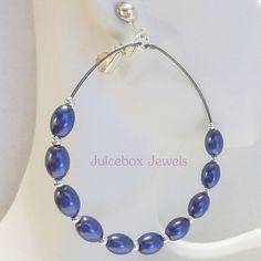 Clip on DK BLUE 2.5 inch Oval Faux Pearl Hoop Handmade Non-Pierced Earrings V201 #Handmade #Hoop