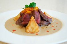 Ostrich Fillet with Biltong Cream Ostrich Meat, Biltong, Fish And Meat, Tasty, Yummy Food, Venison, Steak Recipes, Meals, Dishes