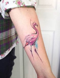 Watercolor Flamingo Arm Tattoo