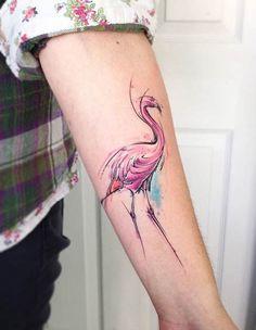 Watercolor Flamingo Arm Tattoo
