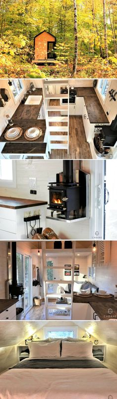 A 256 sq ft cabin with two bedrooms a full kitchen bathroom living room and a Tiny House On Wheels Bathroom Bedrooms cabin Full Kitchen living room Tyni House, Tiny House Cabin, Tiny House Living, Tiny House Plans, Tiny House On Wheels, Small Living, Tiny House Movement, Small Room Design, Tiny House Design
