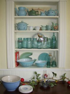 collection of blue and aqua for the kitchen