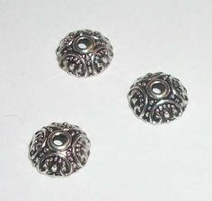 Bead caps, antique silver plated pewter 50 bead caps carved pattern round bead caps size: 10mm fits beads 12-16mm Hole: 1.6mm