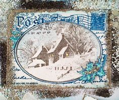 Stampendous Snowy Postcard. Love the blue on it but not a fan of all the other glitzy stuff on the card.
